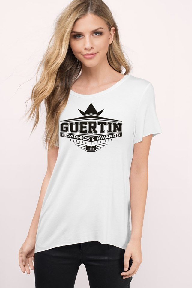 Girl wearing white Guertin Graphics T-shirt