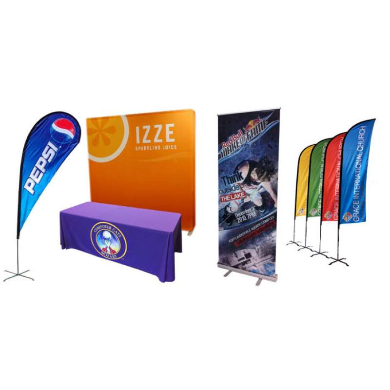 fabric table covers advertising Izze and Pepsi beverage companies