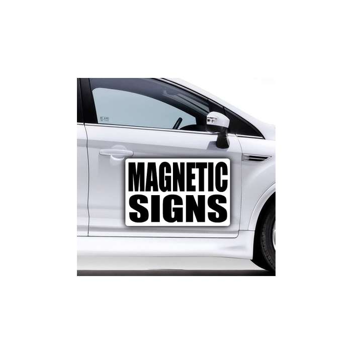 Side of a silver car showing custom magnetic sign