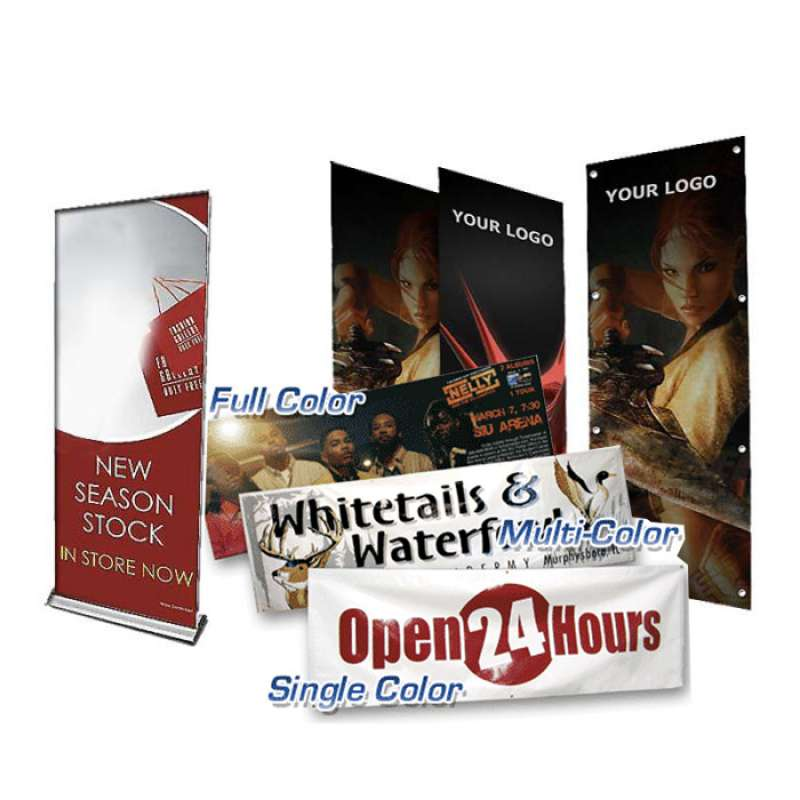 Custom signs and banners in single color, multi-color, or full color